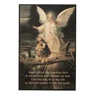 Engel, Kinder, Brücke, Gedicht Holzdruck