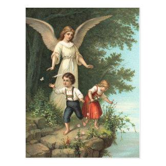 Engel Schutzengel und zwei Kinder Postkarte