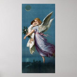 Engel u. Kind im Himmels-Retro Vintagen Plakat