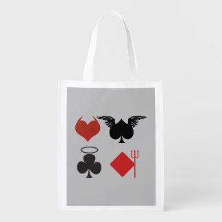 Engel und Teufel-Karten-Anzüge grau Einkaufstasche