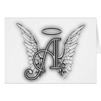 Engels-Alphabet ein Anfangsletzteres Wings Halo Mitteilungskarte