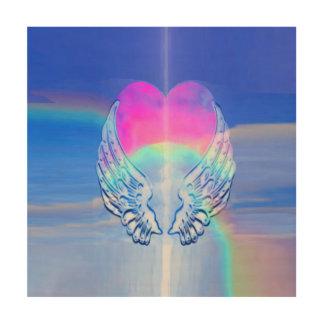 Engels-Flügel eingewickelt um ein Regenbogen-Herz Holzwanddeko