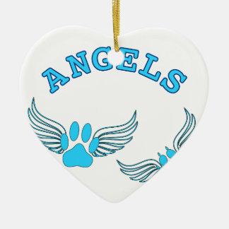 Engels-Haustier-Tatzen im Blau Keramik Herz-Ornament