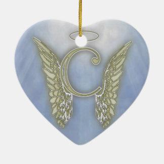 Engels-Monogramm des Buchstabe-C Keramik Herz-Ornament