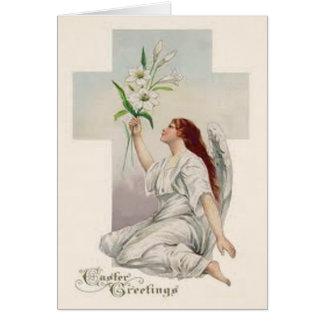 Engels-Osterlilien-christliches Kreuz Karte