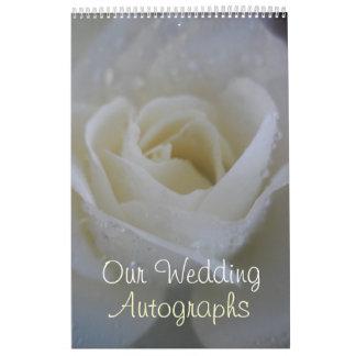 Engels-Rosen-Hochzeits-Autogramm/Gast-Buch Kalender