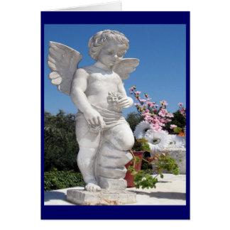 Engels-Statue im Blau Grußkarte