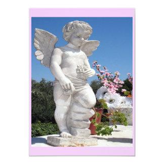 Engels-Statue im Rosa und im Weiß 12,7 X 17,8 Cm Einladungskarte
