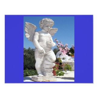 Engels-Statue in Blauem und in Grau II 10,8 X 14 Cm Einladungskarte