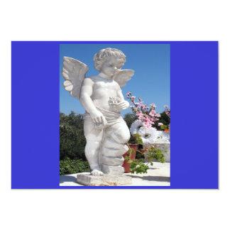 Engels-Statue in Blauem und in Grauem 12,7 X 17,8 Cm Einladungskarte