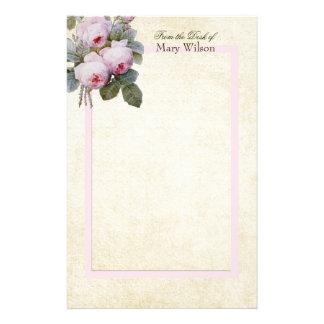 Englisch-Bourbon-Rosen-Blumenstrauß-Gewohnheit Briefpapier