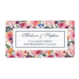 Englisch-Rosen des Watercolor-| - Hochzeit Versand Aufkleber
