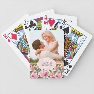 Englisch-Rosen des Watercolor-| - Hochzeits-Foto Poker Karten