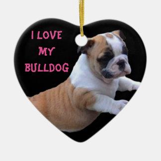 Englische Bulldogge Keramik Herz-Ornament