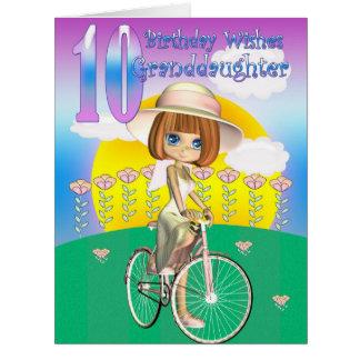 Enkelin-10. Geburtstags-Karte mit kleinem Mädchen Riesige Grußkarte