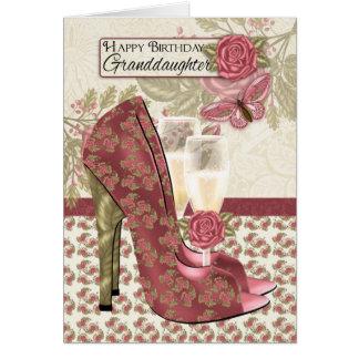 Enkelin Champagne und Schuh-Schmetterling Karte