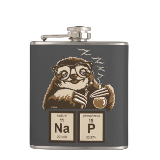 Entdecktes Nickerchen der Chemie Sloth Flachmann