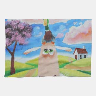 Ente auf dem Kopf eines Schafs Handtücher
