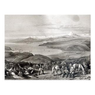 Entfernte Ansicht des Aconcagua-Vulkans Postkarte