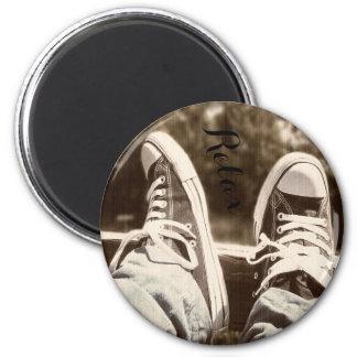 Entspannen Sie sich Turnschuhmagneten Runder Magnet 5,7 Cm