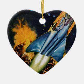 Entweichen vom explodierenden Planeten Keramik Herz-Ornament