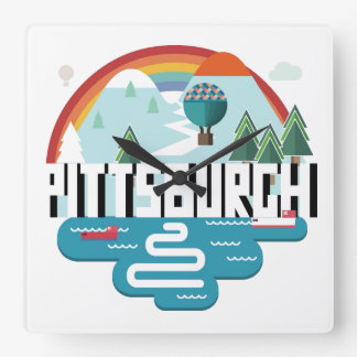 Entwurf Pittsburghs, Stadtbild Pennsylvanias | Quadratische Wanduhr