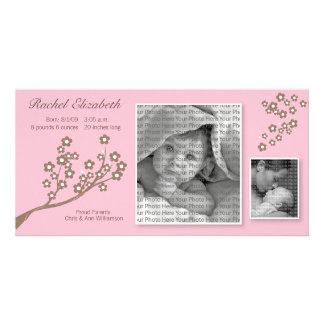 Entwurfs-Geburts-Mitteilungs-Rosa/Brown der Individuelle Photo Karte