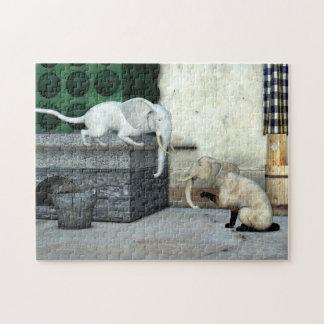 Entzückende Elefant-Katzen Puzzle
