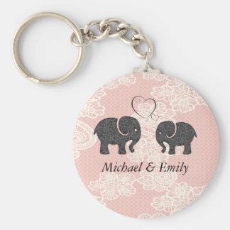 Entzückende nette Elefanten in der Liebe Schlüsselanhänger