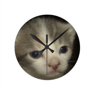 Entzückendes Kätzchen-Gesicht Runde Wanduhr