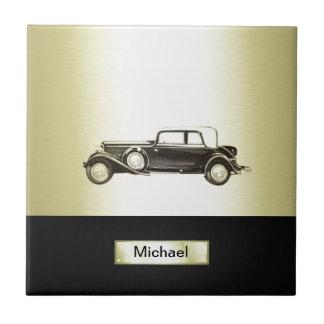 Entzückendes nobles Vintages Goldaltes Auto Kleine Quadratische Fliese
