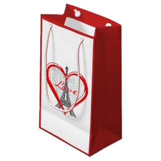 Entzückendes rotes Herz Eiffel-Turm-Liebe-Paris | Kleine Geschenktüte