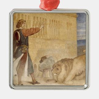 Er behandelte die Löwen, als wenn er scherzte Quadratisches Silberfarbenes Ornament