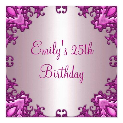 Erblassen Sie - rosa Feld-25. Geburtstags-Party 2 Ankündigungskarte