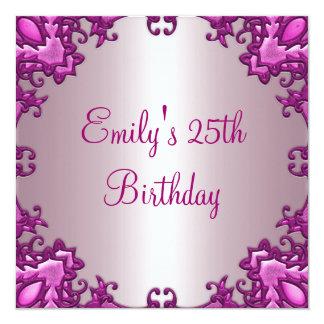 Erblassen Sie - rosa Feld-25. Geburtstags-Party 2 Quadratische 13,3 Cm Einladungskarte