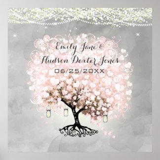Erblassen Sie - rosa Herz-Blatt-Baum-Hochzeit Poster