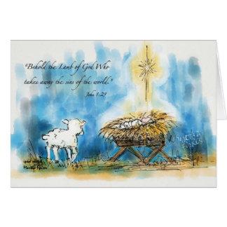 """""""Erblicken Sie das Lamm-"""" Weihnachtskarte Karte"""