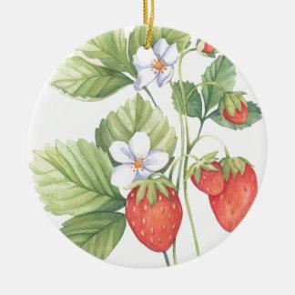 Erdbeeren Rundes Keramik Ornament