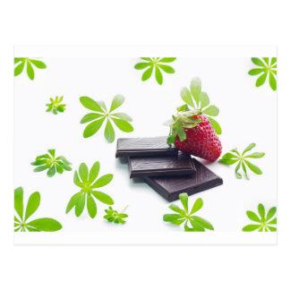 Erdbeeren Schoko Waldmeister Stillleben Postkarte