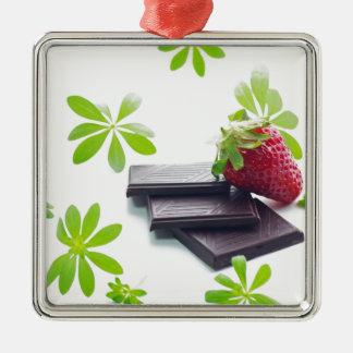 Erdbeeren Schoko Waldmeister Stillleben Quadratisches Silberfarbenes Ornament