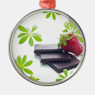 Erdbeeren Schoko Waldmeister Stillleben Rundes Silberfarbenes Ornament