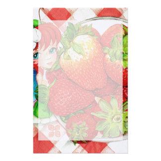 Erdbeerfeenhafter Picknick-Kunst-Druck Briefpapier