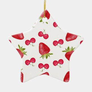 Erdbeerkirschfiesta-Muster Keramik Stern-Ornament