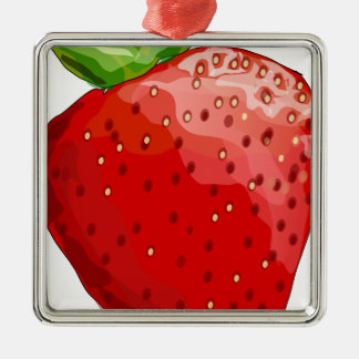 Erdbeersommer-Freude Quadratisches Silberfarbenes Ornament