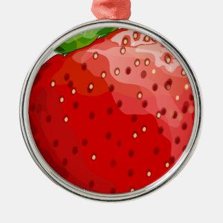 Erdbeersommer-Freude Rundes Silberfarbenes Ornament