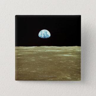 Erde, die über Mond steigt Quadratischer Button 5,1 Cm