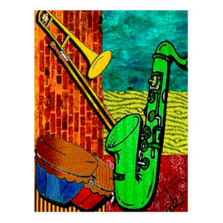 Erdige Jazz-Collage Postkarte