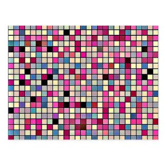 Erdige Pastell-quadratisches Fliesen-Muster Postkarte