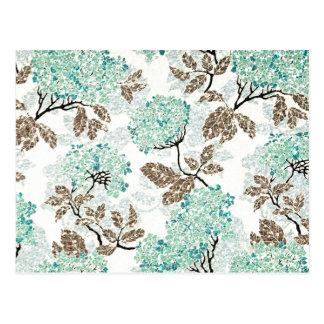 Erdiges Aqua-Glittery Blumen Postkarte