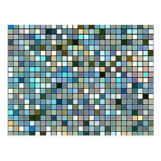 Erdiges blaues Quadrat deckt Muster mit Ziegeln Postkarte